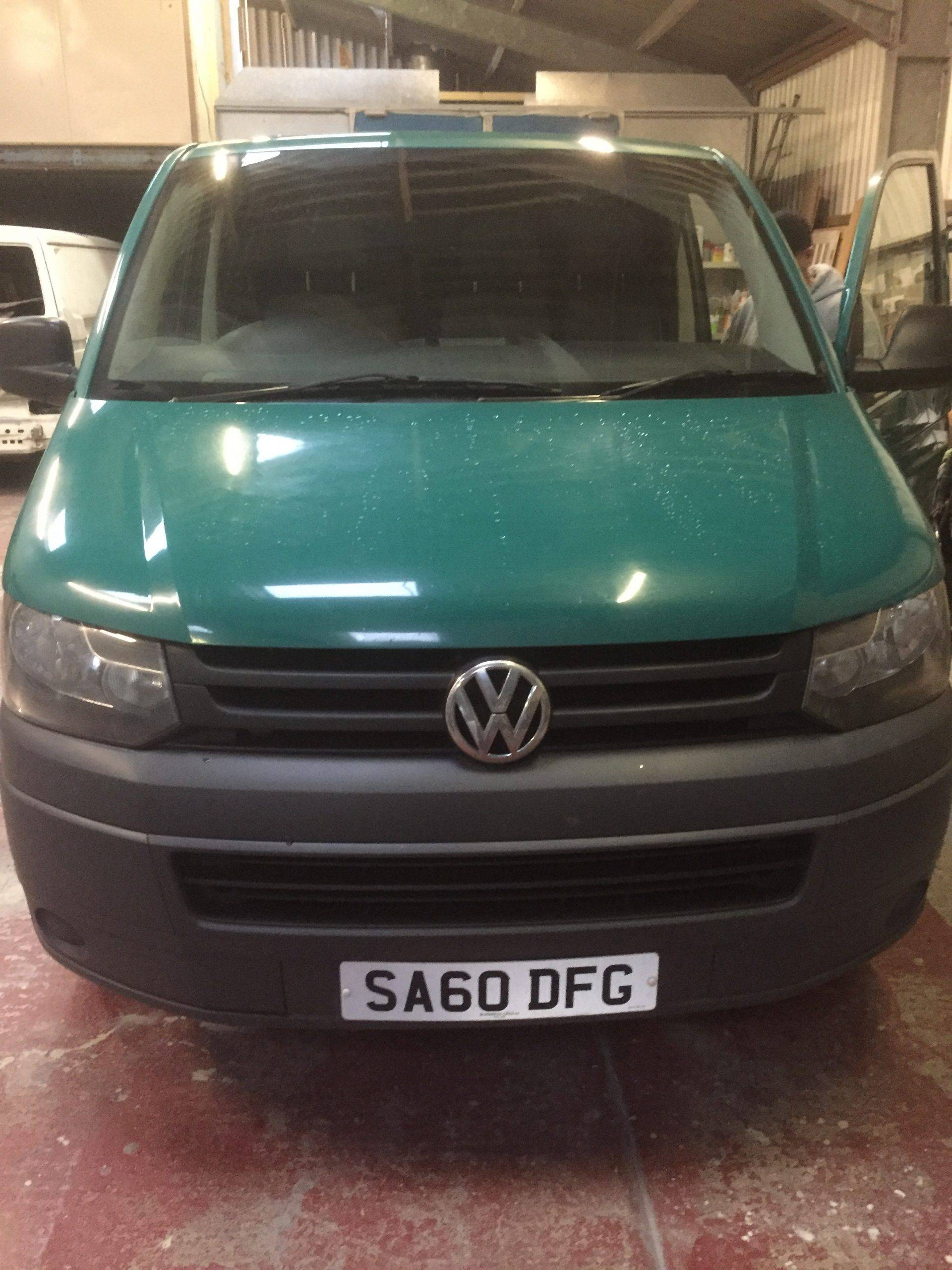 60 plate green camper van getting paint job