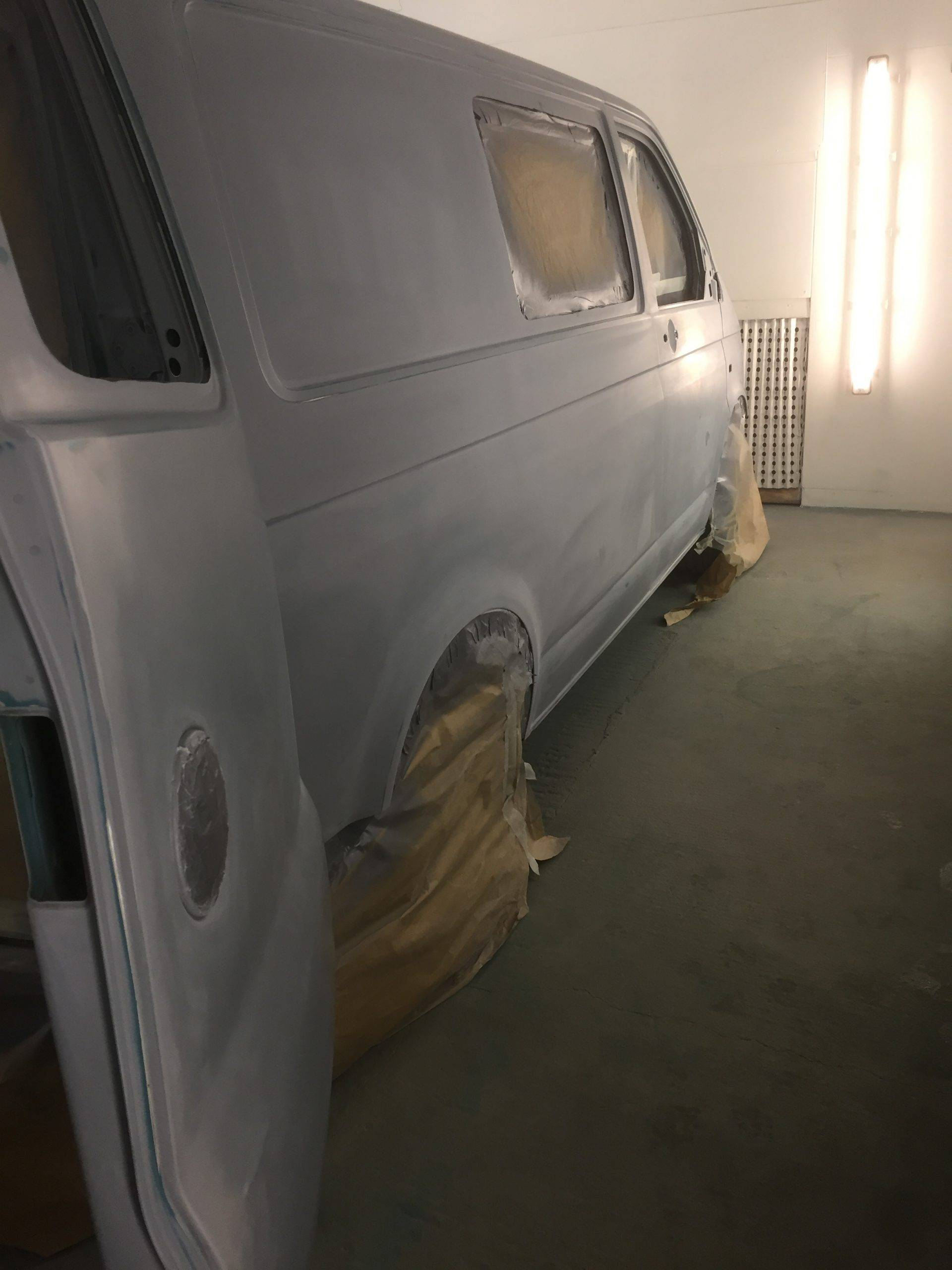 vw camper getting paint job
