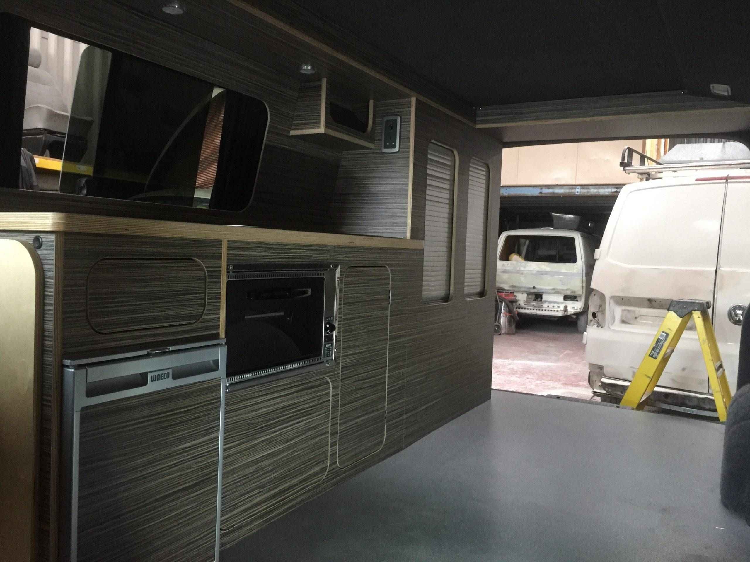 wooden design caravan interior