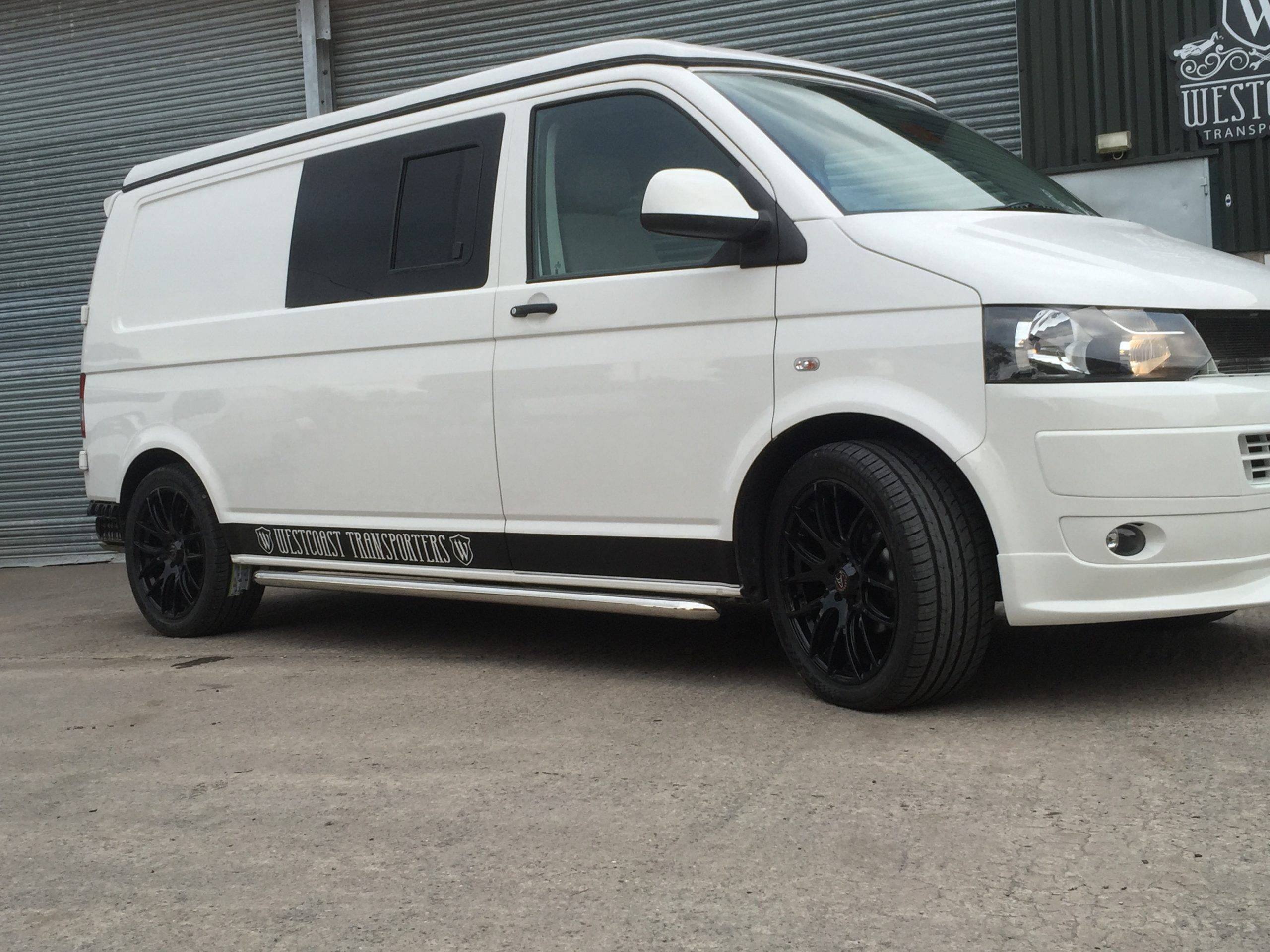white and black camper van