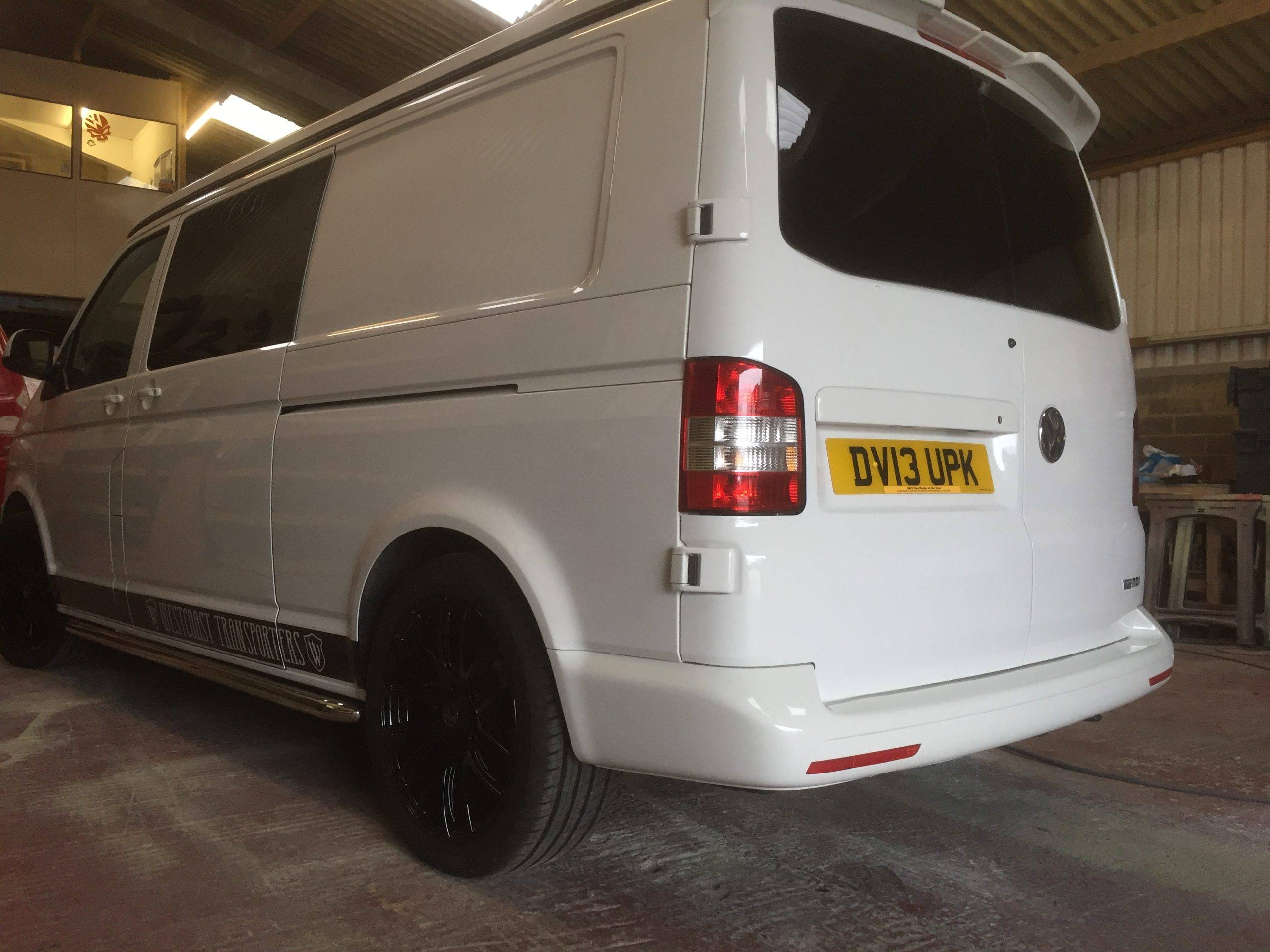 white and black camper van