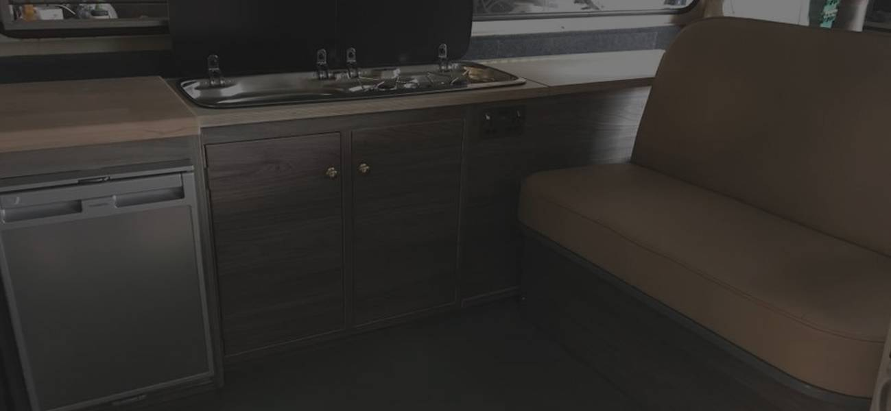table and chairs in camper van