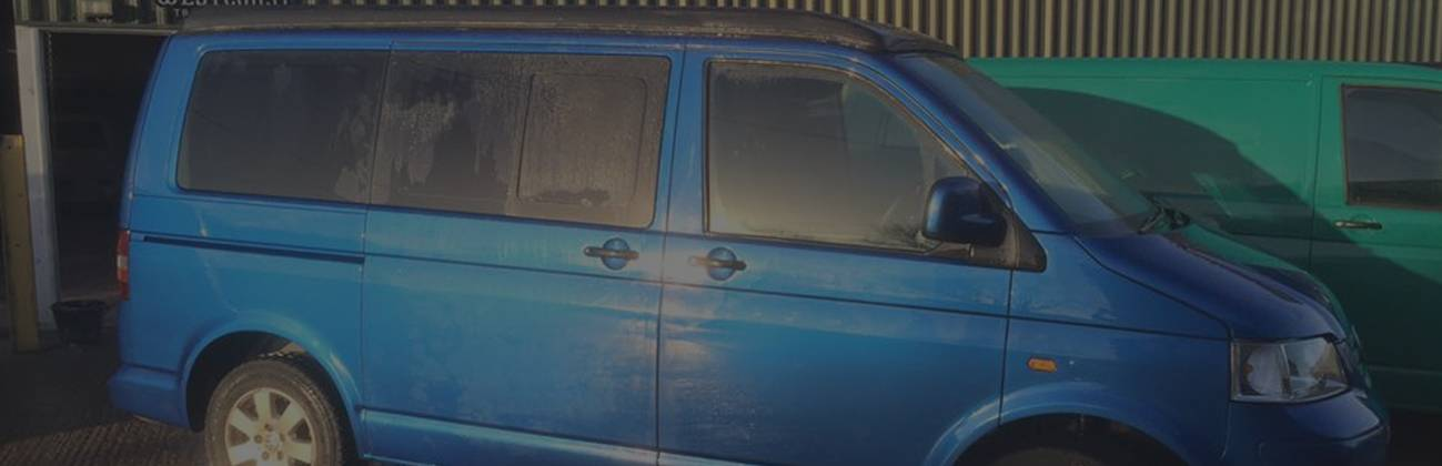 blue vw campervan before conversion